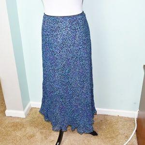 Gorgeous Blue Polka-dot Print Maxi Skirt